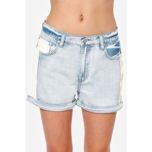 Mink Pink Trash Superstar Leather Denim Shorts